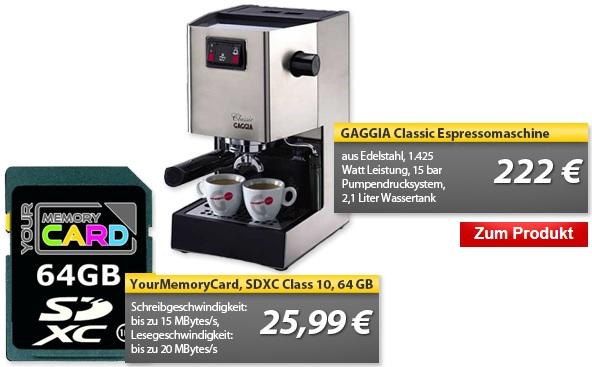 YourMemoryCard 64GB SDXC Class 10 Speicherkarte & GAGGIA Classic Espressomaschine   OHA Deals