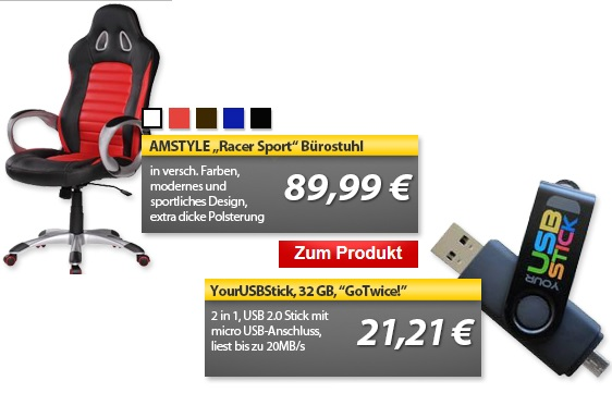 AMSTYLE Racer Sport Chefsessel & 32GB GoTwice! USB Dual Stick   OHA Deals