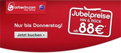 Air Berlin Jubelpreise   z. B. Berlin Paris für 88€ Hin und Zurück