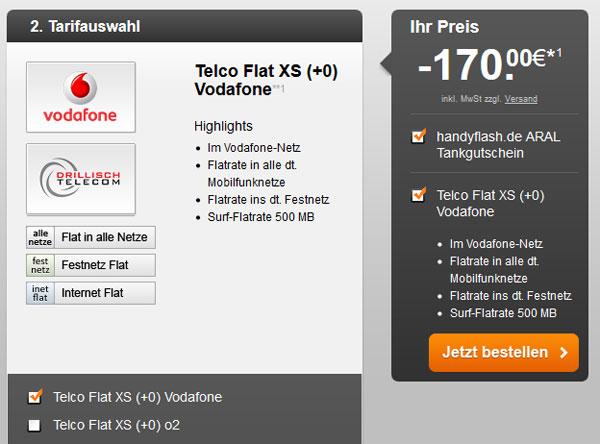 Vodafone Flat XS für 20,78€ pro Monat + 170€ Aral Tankgutschein