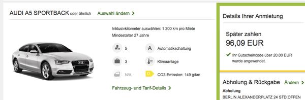 Audi A5 Sportback ein Wochenende bei Europcar mieten für nur ~96€   Update!