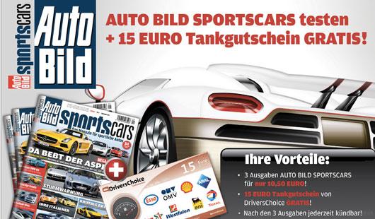 3 x Auto BILD Sports Cars + 15€ Tankgutschein für 10,50€   Effektiv 4,50€ Gewinn