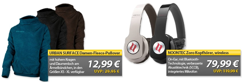 Urban Surface Damen Fleece Pullover & Noontec Zoro Wireless On Ear Kopfhörer   OHA Deals