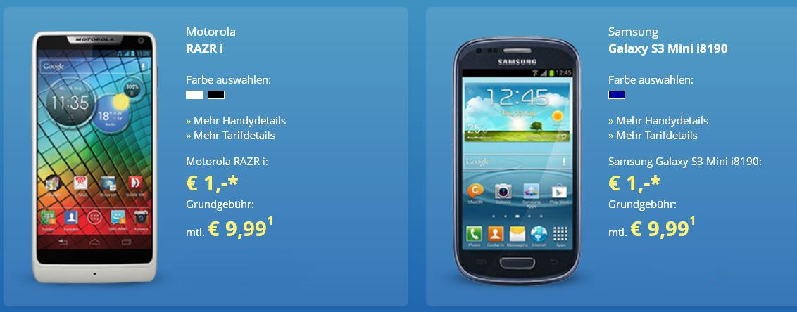 O² Basic Vertrag mit 300 MB Inet   50Freiminuten und z.B. Sony Xperia T für 9,99€ monatl.