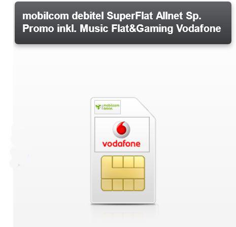 Super Allnet Flat inkl. GamingFlat im Vodafone Netz für effektiv 6€ monatl.