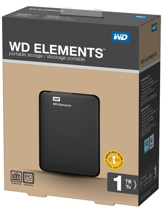Western Digital Elements WDBUZG0010BBK   externe 1TB USB3 Festplatte für 69,95€