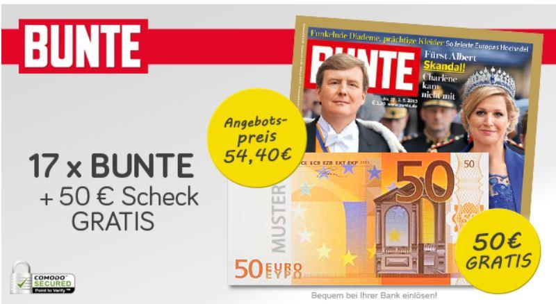 17 Ausgaben BUNTE für 54,40€ + 50€ Verrechnungsscheck