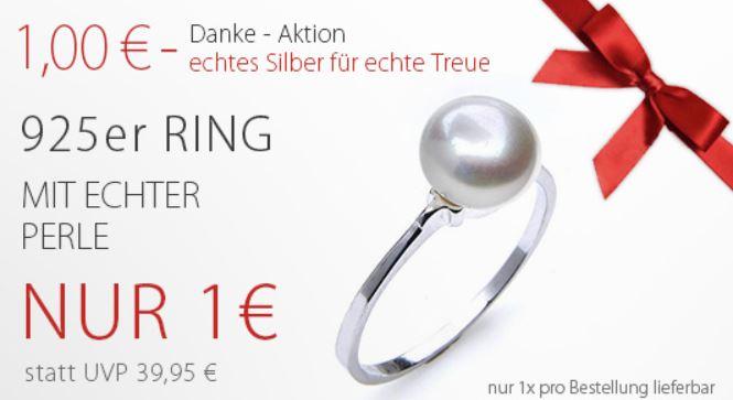Silvity.de Sterling Silberring mit Perle ab 5,95€ + 5€ Gutschein