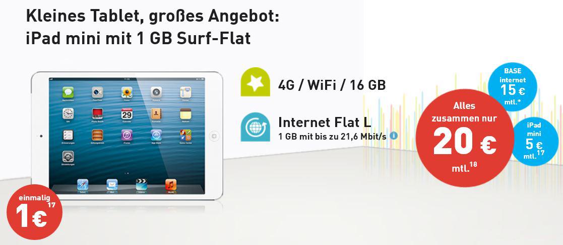 iPad mini mit WiFi, 16GB, 4G + 1GB Datenvolumen für 20€ monatlich bei Base