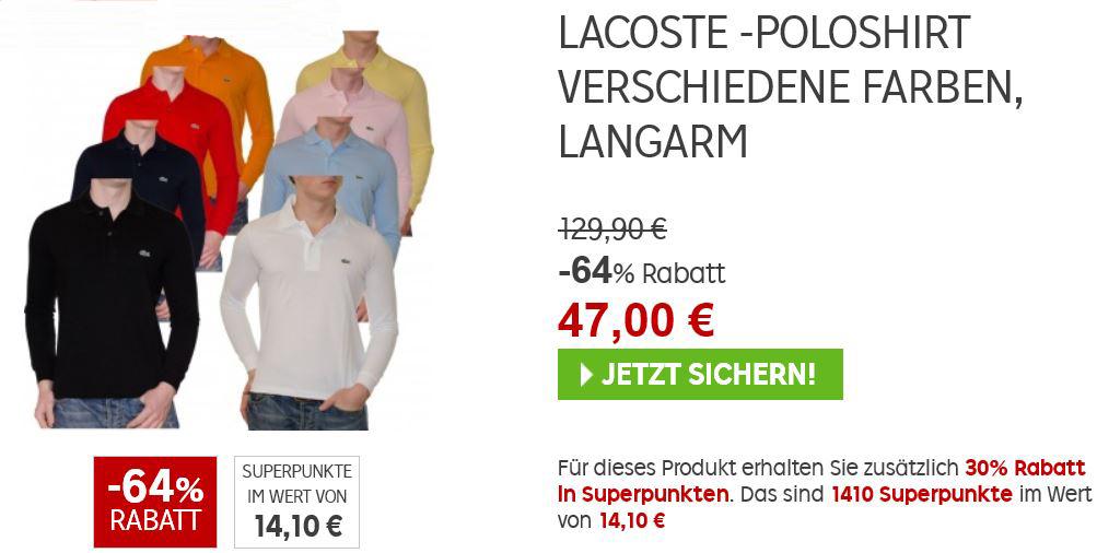 LACOSTE   Poloshirt  für 47€ und 14,10€ Cashback im Rakuten Super Sale!
