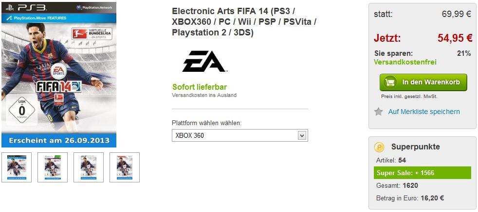Update! FIFA 14 für 54,95€  + 16,20€ Cashback + 5€ Gutschein