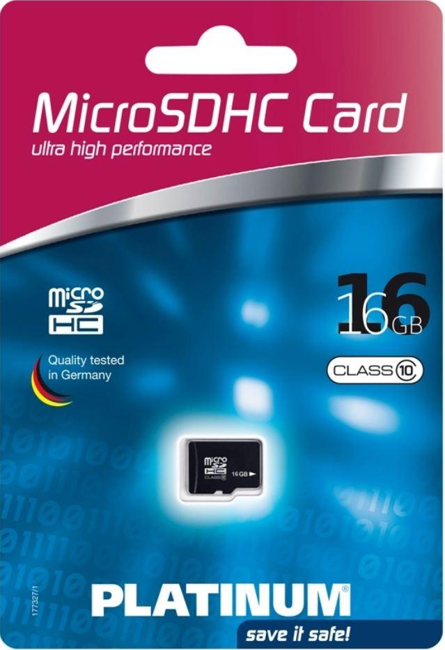 Platinum Micro SDHC Karte 16GB, Class 10 für 9,99€