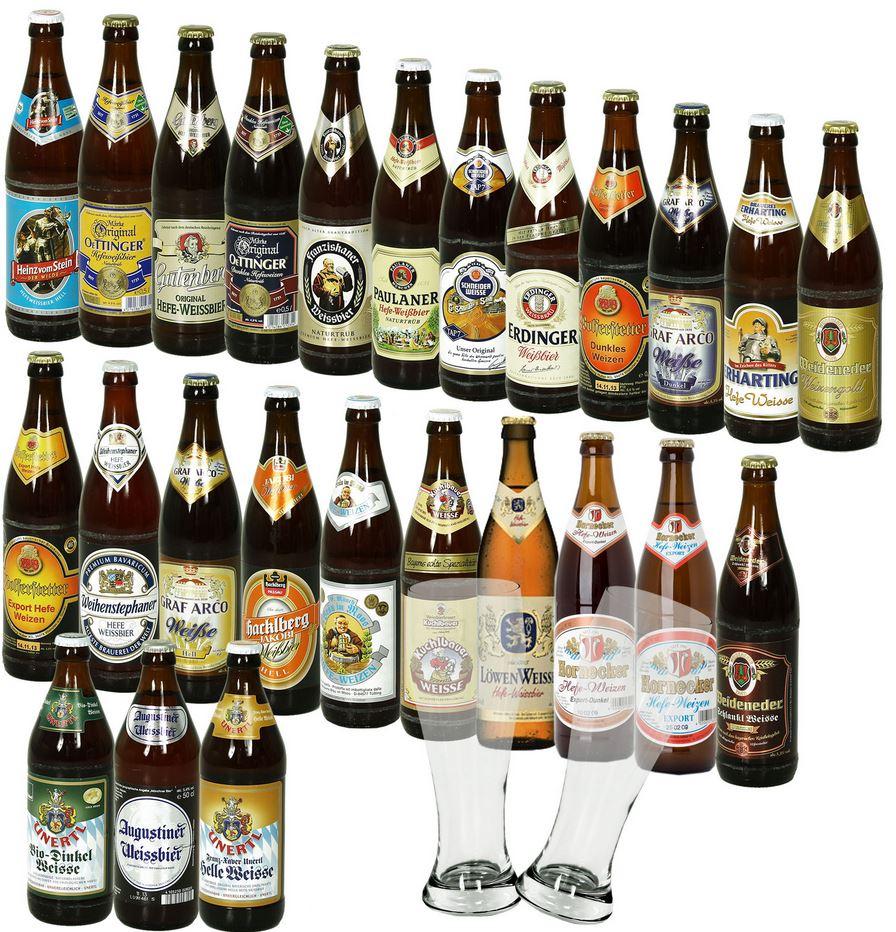 Bier Sets mit 25 Flaschen & Krug   Weißbier Radler Pils Helles & Oktoberfestbier