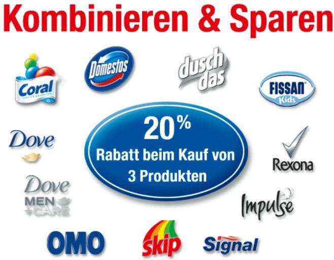 20% Rabatt beim Kauf von 3 Unilever Produkten, (Rexona, Coral, Dove ...)