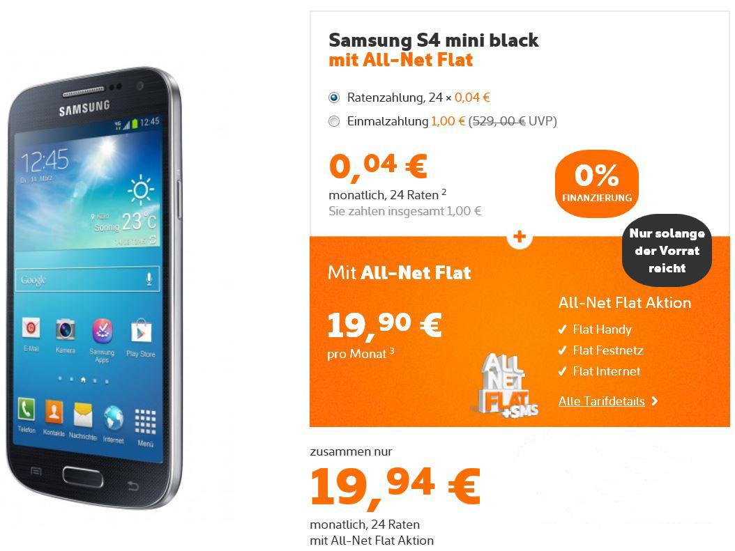 SAMSUNG S4 mini inkl. All Net Flat nur 19,94€ monatlich