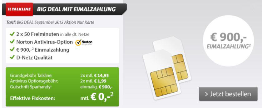 T Mobile Duo Vertrag mit mit 2 x 50 Freiminuten und 86,88€ Gewinn