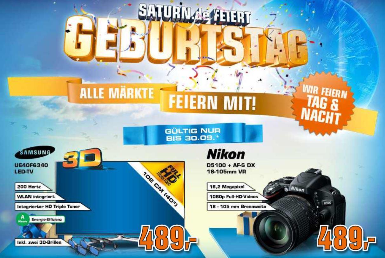 Samsung UE40F6340   40Zoll 3D TV und Nikon D5100 SLR 18 105 mm VR für je 489€