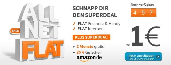Update! Allnet Flat von simyo 2 Monate für 1€ testen + 25€ Amazon Gutschein