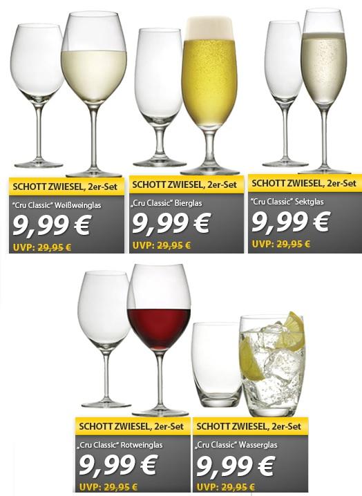 Verschiedene 2er Sets Schott Zwiesel Gläser für 9,99€   OHA Deals