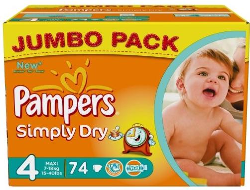 Pampers Simply Dry 2x Jumbo Pack (148 Windeln) nur 17,40€ inkl. Versand