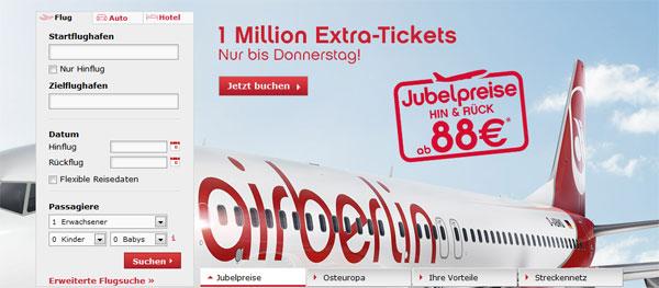 Air Berlin Jubelpreise   z. B. Berlin Venedig für 88€ Hin und Zurück