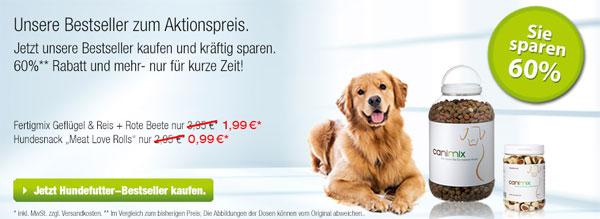 Update! 60% Rabatt auf viele Artikel bei canimix   Hunde  und Katzenfutter