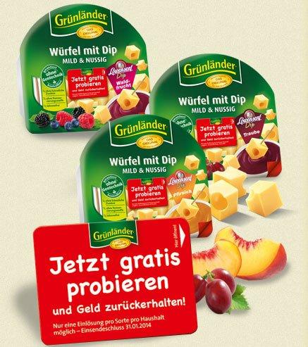 Gratis Grünländer Käsewürfel mit Dip testen