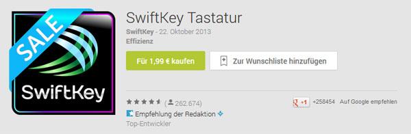 Android SwiftKey Tastatur für 1,99€ statt 3,99€