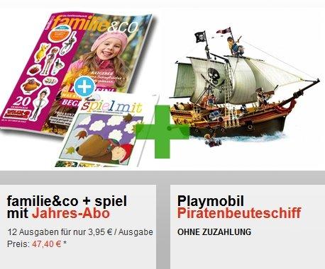 familie&co Jahresabo für 47,40€ + Playmobil Piraten Beuteschiff