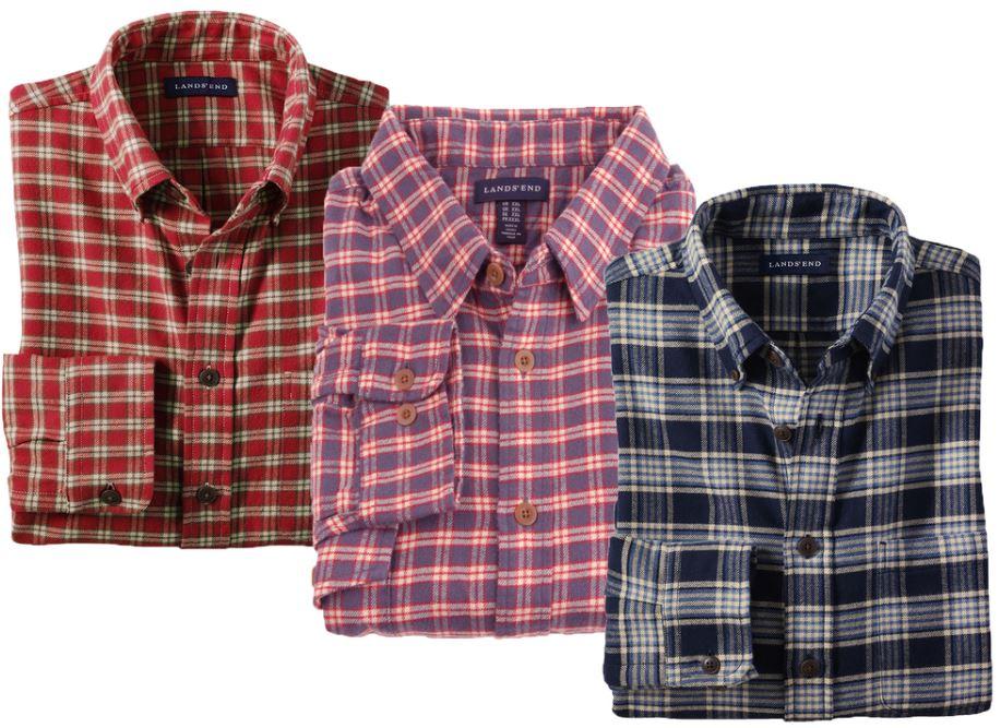 LANDS´ END Herren Flanellhemd für 14,95€