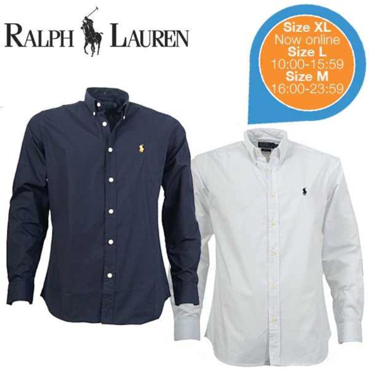Ralph Lauren 2er Pack Herrenhemden   weiß und dunkelblau für 75,90€