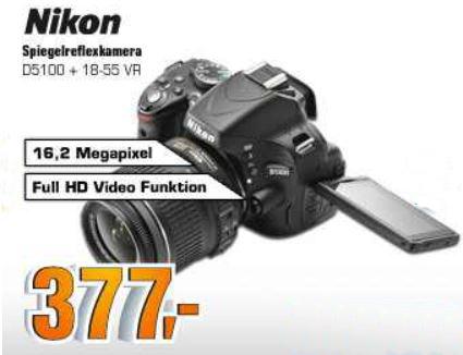 Nikon D5100 SLR Digitalkamera für 377€ und mehr SATURN SUPER SUNDAY Angebote!