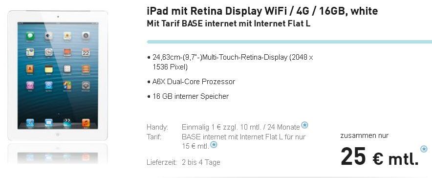 iPad4   16GB und 4G mit 1GB BASE Datenvolumen für monatl. 25,04€