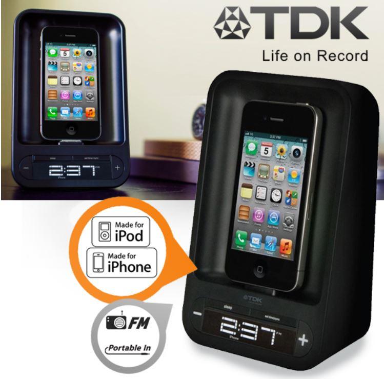 TDK Life on Record TAC4221 iPhone Dock mit Wecker für 18,90€