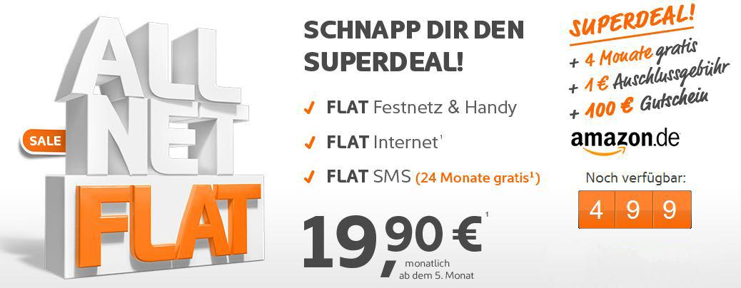 Simyo All Net Flat mit SMS und Internet Flat durch Amazon Gutschein effektiv nur 12,46€ monatl. Update!