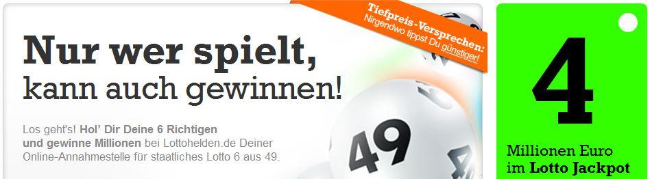 Bei Lottohelden 6 Lottofelder dank Neukunden Gutschein für nur 1,20€ statt 6,20€