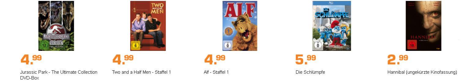 SATURN DVD und Blu rays günstig: Die Schlümpfe, Jurassic Park 1 3, Stieg Larson  und ...