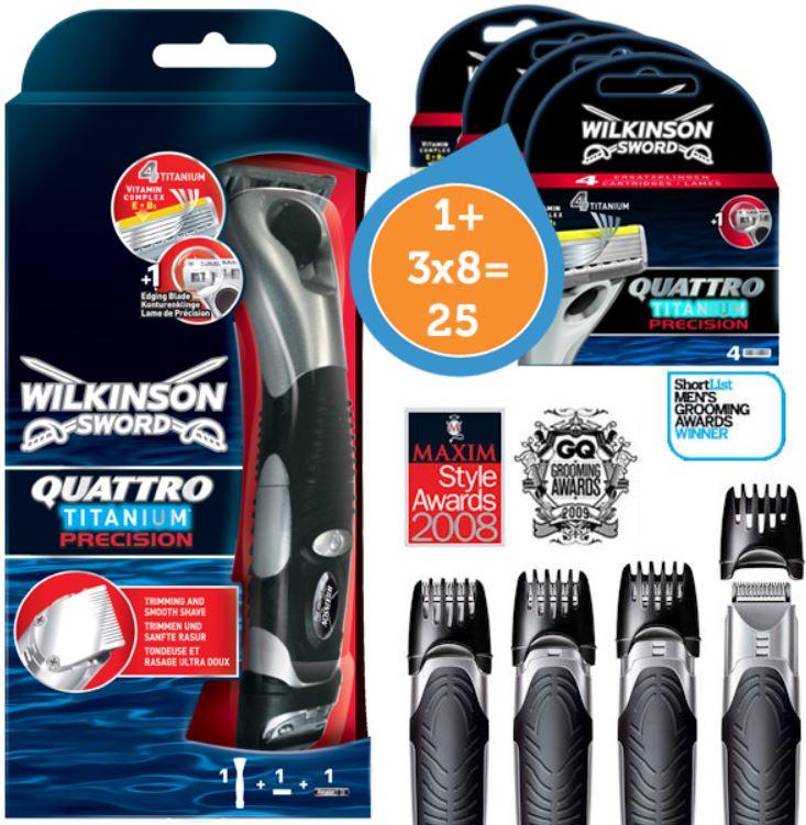 Wilkinson Sword Quattro Titanium Precision 3in1 Rasierer inkl. 25 Klingen für 45,90€