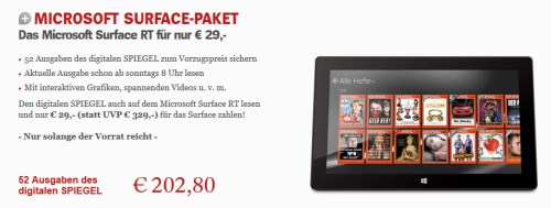 Jahresabo Spiegel E Paper + Surface RT 32GB für 232€
