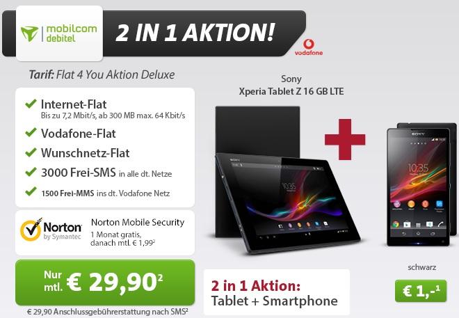 Sony Tablet Z 16GB LTE + Sony Xperia ZL für 1€ mit Flat4You   Update!