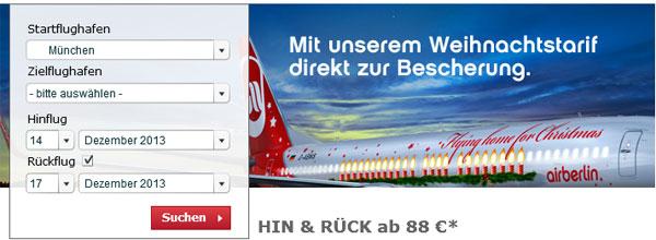 airberlin Weihnachtsaktion   für 88€ innerhalb Deutschlands Hin und Zurück