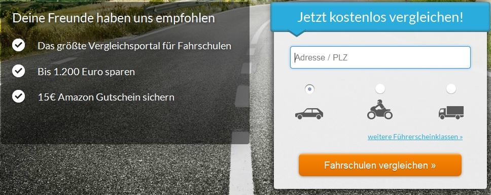 Fahrschulvergleich nutzen und 15€ Amazon Gutschein sichern