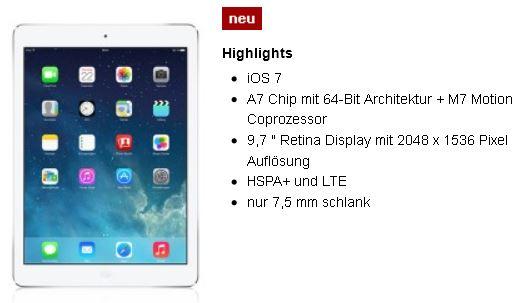 Apple iPad Air mit WiFi, Cellular + 3GB Datenvertrag   wieder da!