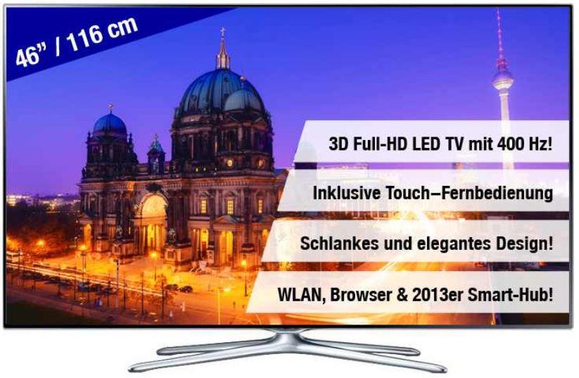 Samsung UE46F6500   46 Smart 3D Wlan TV für 589€   wieder da!