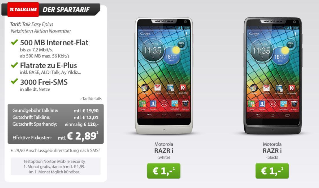 ePlus Flat mit SMS und iNet Flat (500MB) inkl. Motorola RAZR i für 2,94€ monatl.
