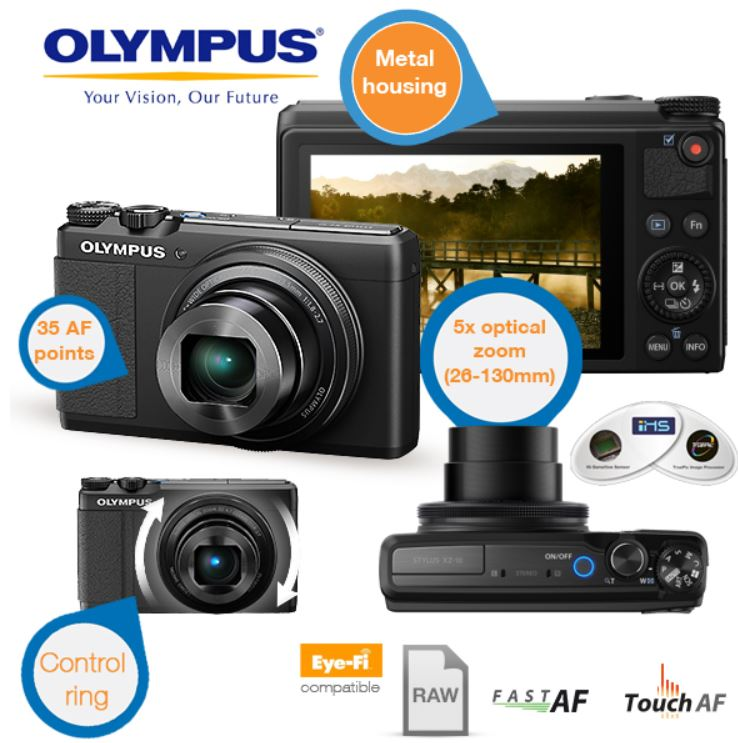 Olympus Stylus Creator XZ 10   12MP Digital Kamera mit iHS Technik für 205,90€