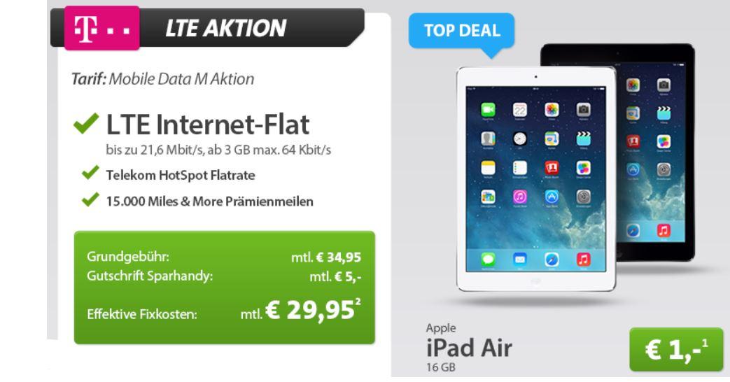 iPad Air mit 16GB und 4G mit LTE Telekom 3GB Daten Flat