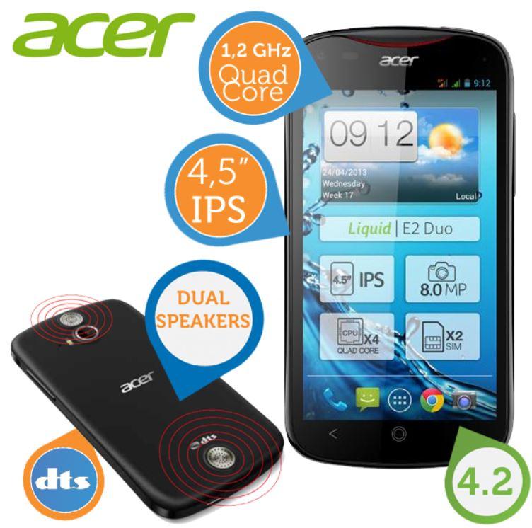 Acer Liquid E2 DUO   Quad Core Smartphone mit Dual SIM und DTS für 145,90€   wieder da!