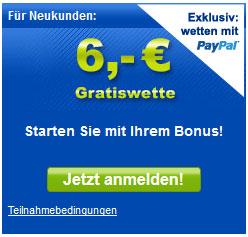 Gratis 6€ Wettguthaben für mybet   update