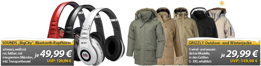OHA Deals   SOUNDS – Big City – Premium Bluetooth Stereo Kopfhörer & Grizzly Parka